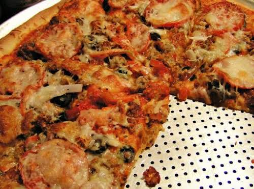 """3-Meat Pizza """"This pizza started out with me cleaning out the fridge..."""