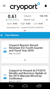 Cryoport Investor Relations- screenshot thumbnail