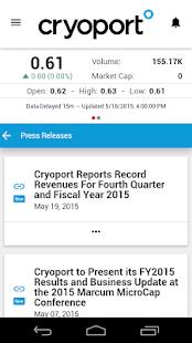 Cryoport Investor Relations - screenshot thumbnail