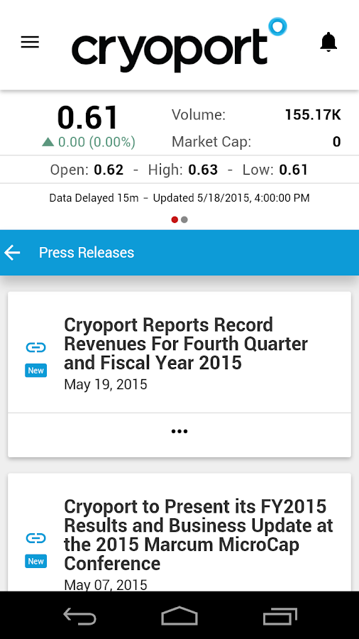 Cryoport Investor Relations- screenshot