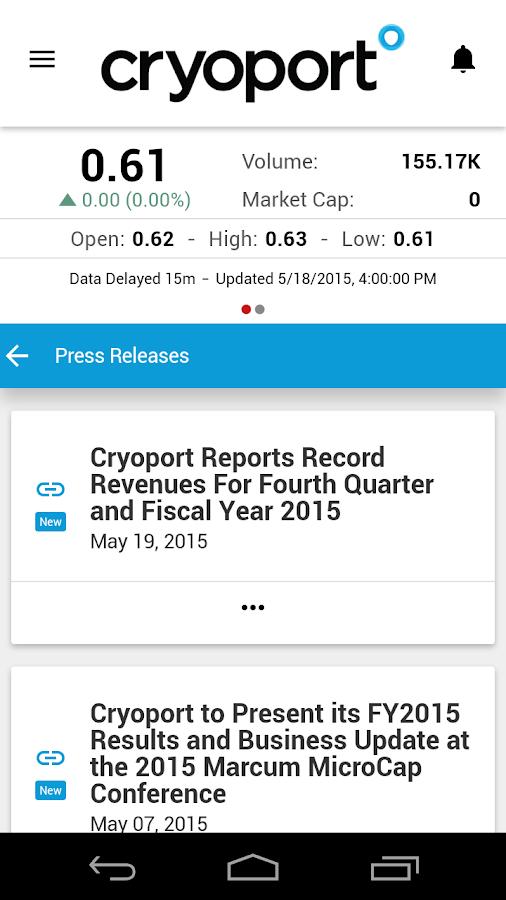 Cryoport Investor Relations - screenshot