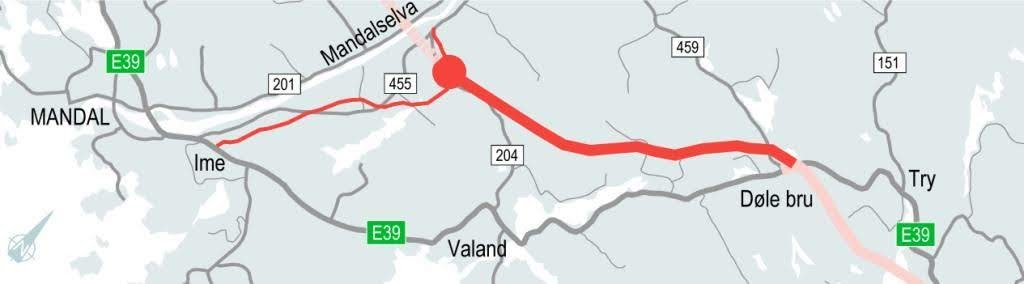 Kart - E39 Mandal øst - Mandal by