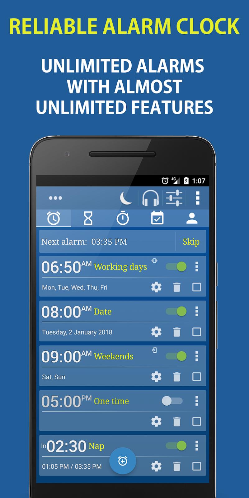 Alarm Clock & Timer & Stopwatch & Tasks & Contacts Screenshot