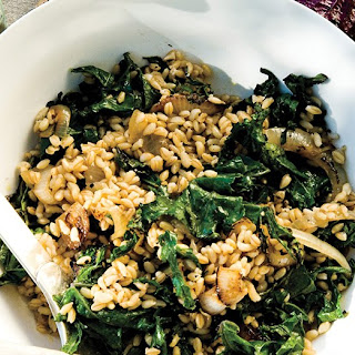 Wheat Berries with Charred Onions and Kale Recipe