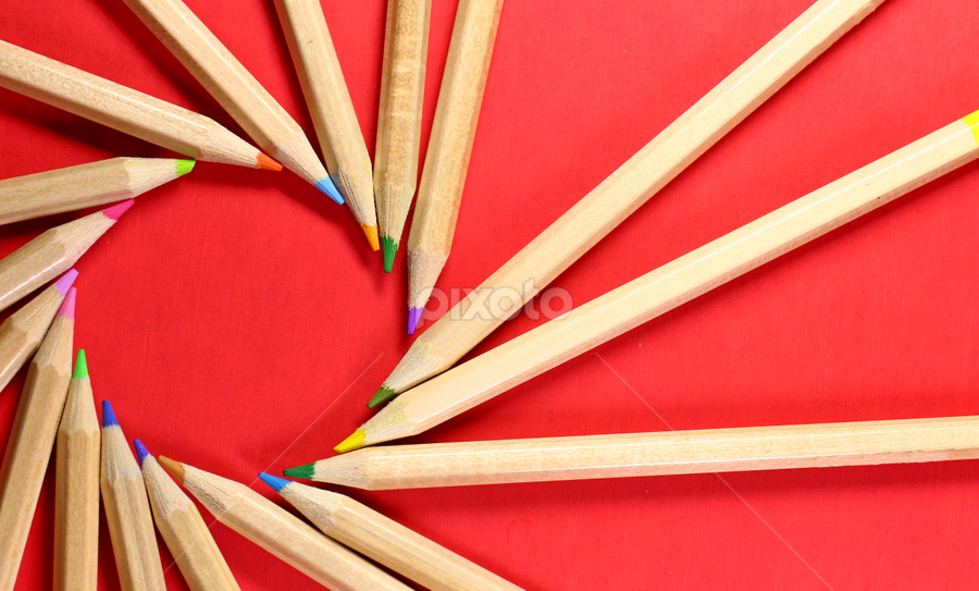 A circle of pencils. by Dipali S - Artistic Objects Other Objects ( school, red, background, education, business, pencils, vertical lines, pwc )