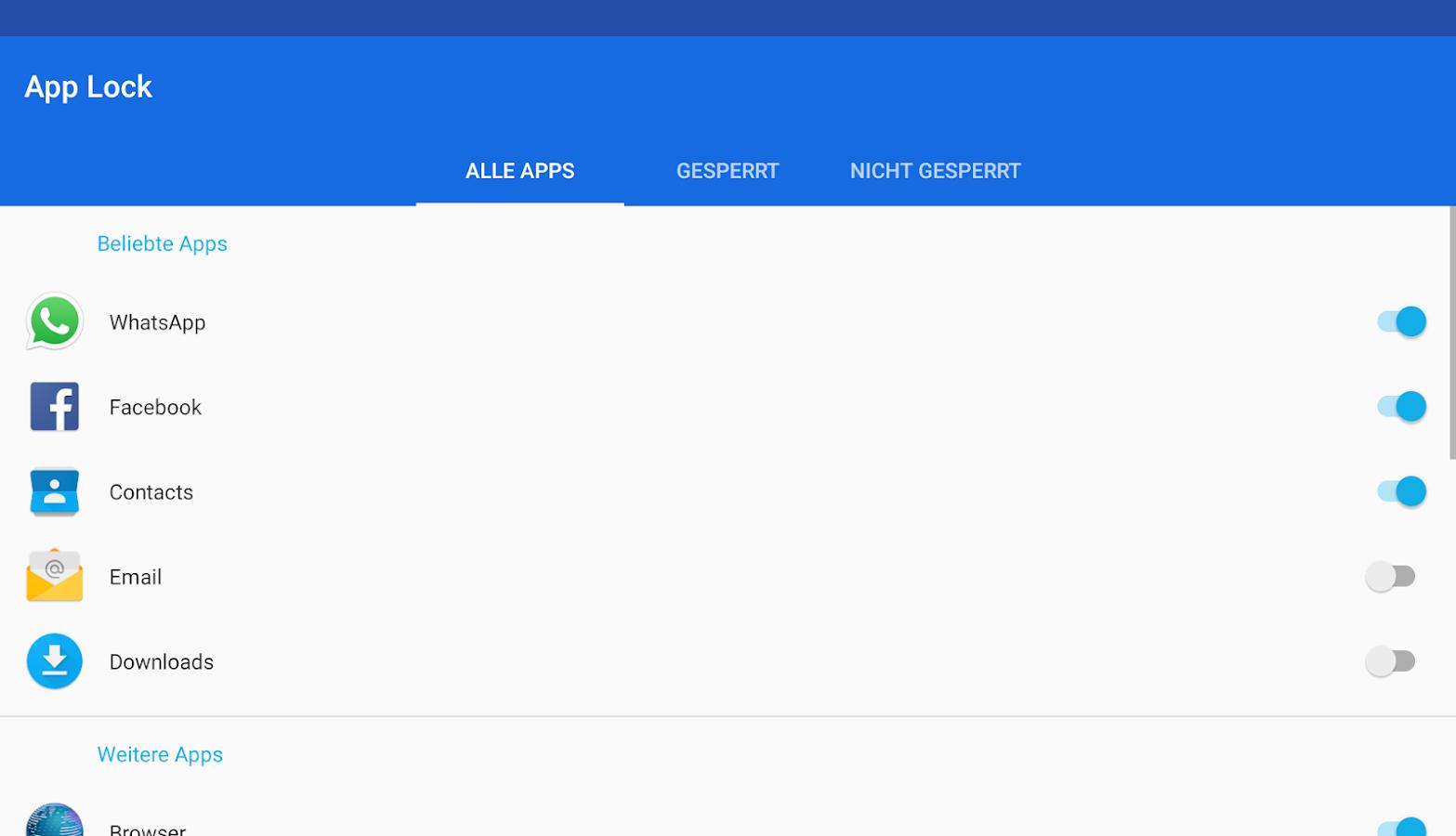 app lock passwort ändern