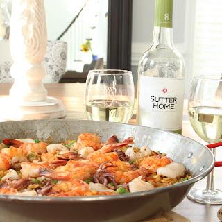 Seafood Paella and Sutter Home Sauvignon Blanc