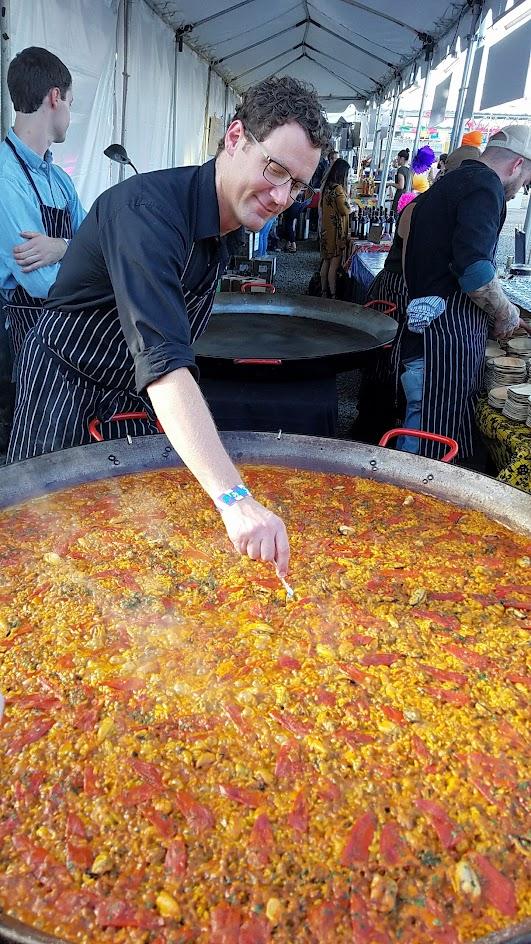 Feast PDX Night Market, Scott Ketterman from Crown Paella (Portland, OR): Playa Paella with dungeness crab and fried calamari
