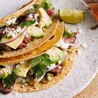 Jalapeño and Lime-Marinated Skirt Steak Tacos.