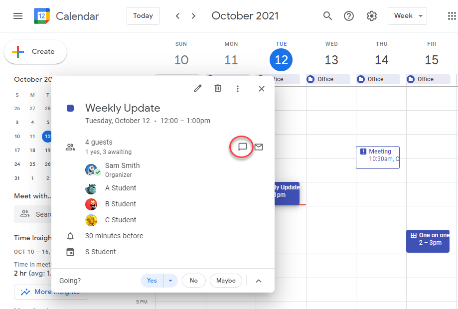 Chat with event attendees directly from the Calendar event on web