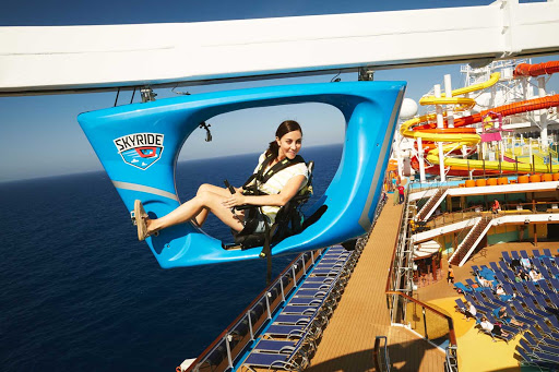 Soar above the ship and tell the tale of what you spotted after taking the Skyride on your Carnival sailing.