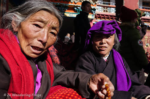 China Sichuan Kham Tibet Garze Ganzi Kandze Monastery Buddhist Festival // Elderly Tibetan Women at the Kandze Monastery