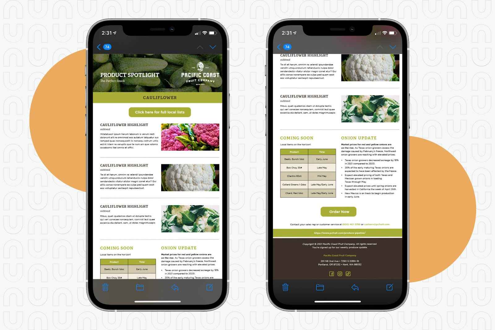 Email template on mobile