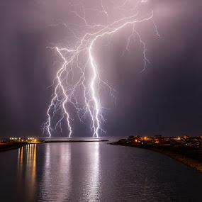 Ocean Bolts by Grahame Kelaher - Landscapes Weather ( harbour lightning storm reflection )