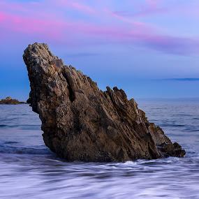 Corona Del Mar Sunset by Evver Gonzalez - Landscapes Beaches ( sunset, california, rock, long exposure, seascape, beach )