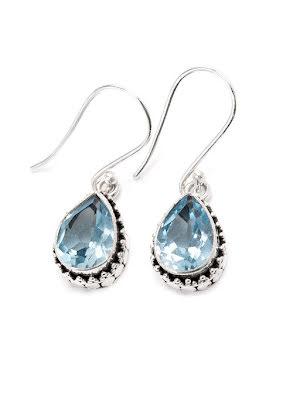 Blå topas, silverörhänge med filigran