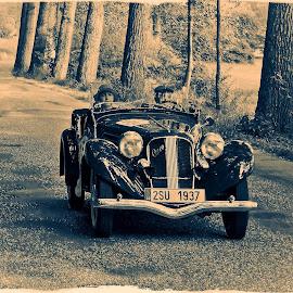 old style by Tomasz Marciniak - Transportation Automobiles ( car, old car, b&w, aero, road,  )