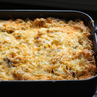 Hash Brown Casserole With Sausage and Chives.