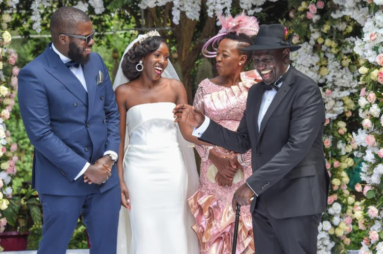 DP Ruto and his family during daughter's wedding