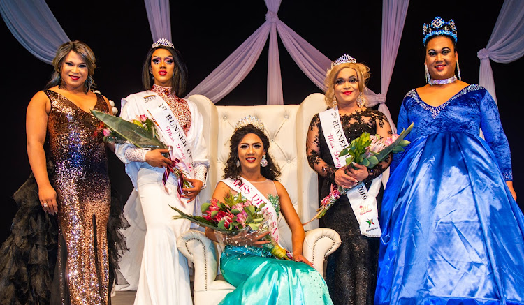 Pageant director Enigma von Hamburg, far left, with the top three contestants in the Miss Drag SA 2018 pageant, Ina Propriate, Miss Vicky and Ava Reece Cole, and the 2017 winner Zilin Ayoki Zhang, far right.
