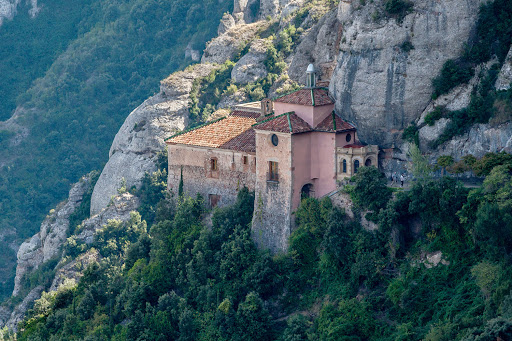 benedictine-monastery-catalonia.jpg - A Benedictine monastery juts out of the mountainside in the Catalonia region of northeastern Spain near Barcelona.