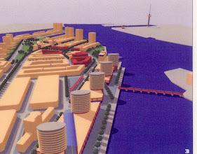 Photo: [1999 ©-Woningsrichting Onze Woongemeenschap OWG en ©-verzameling KBO] - http://www.Katendrecht.info - schetsen & studies - artist impression mogelijk alternatief van o.a. de Fenixloodsen (zie <3 op de plattegrond).