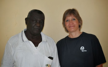 Photo: Charles Dixon, researcher at SLARI, in Rokpur, Sierra Leone undertook 3 years of SRI research with farmers. [Photo by Erika Styger, July 2012]
