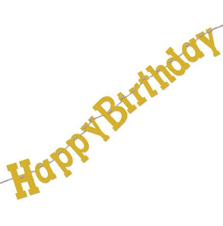 Girlang, happy birthday guld 168cm