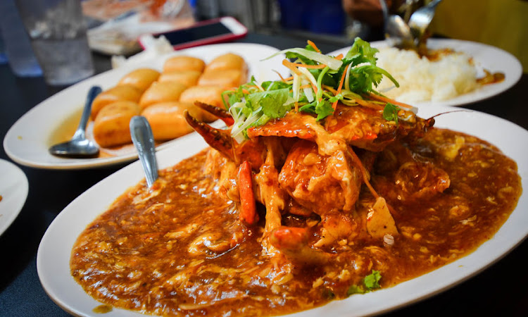 Chilli crab, a famous Singaporean dish.