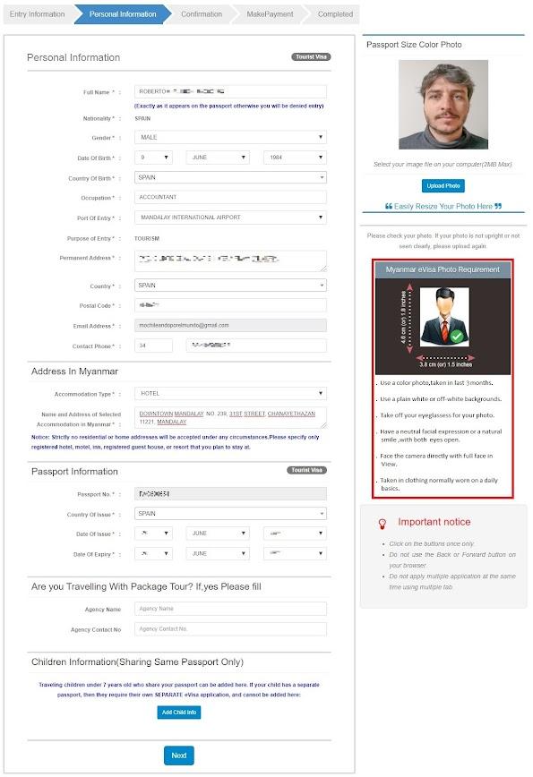 visado para Myanmar online