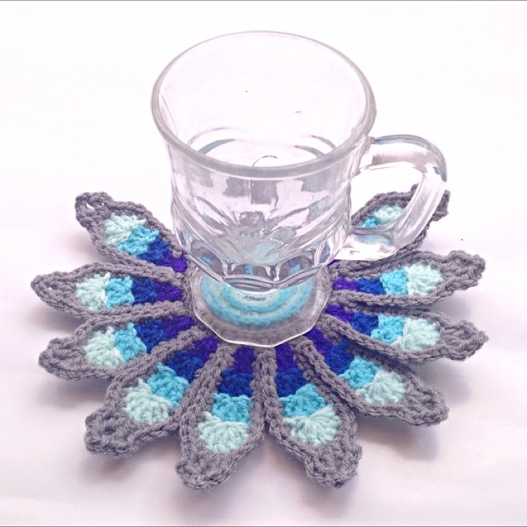 Handmade crochet peacock coaster by Ricin Craft