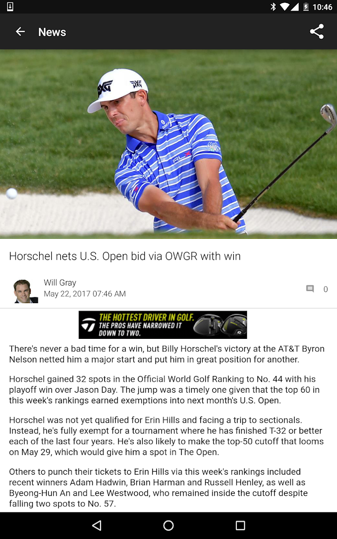 Golf Channel Mobile Android 9