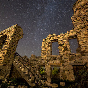 Hotel Hell In Ruins by Andy Taber - Buildings & Architecture Public & Historical ( history, brick and mortar, stars, damage, ruins, hotel, landscape, tornado, nightscape, , landmark, travel, night, lights, abandoned, building )