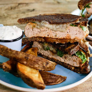 Black and Blue Patty Melts with Oven Fries and Horseradish Dipper.