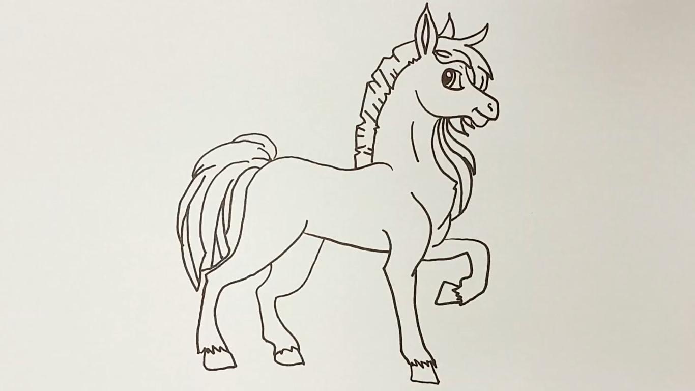 dibujo de caballo kawaii