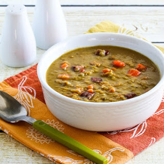 Slow Cooker Split Pea Soup with Chicken Sausage and Carrots
