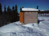 Photo: Thankfully they keep their outhouses open in the winter.