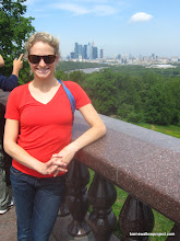 Photo: Liz poses in front of the City Center in Moscow