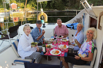 Photo: And late dinner for the crew after we are safely tied up in Rørendal.