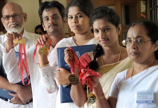 Medal winners at the 14th annual convocation of Karnataka State Open University in Mysore on Saturday. Photo: M.A. Sriram