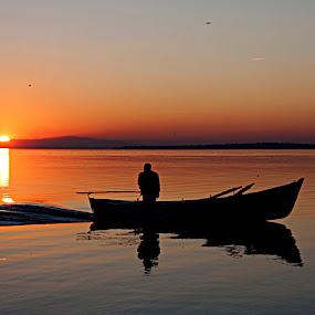 FISHERMAN by Nihan Bayındır - Transportation Boats ( reflection, silhouette, sunset, lake, view, landscape,  )