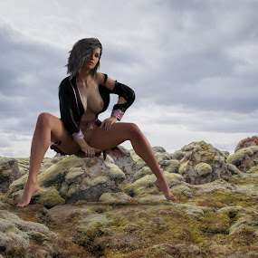 Wide Open by Charlie Alolkoy - Digital Art People ( nude, outdoors, womant, rock, robe )