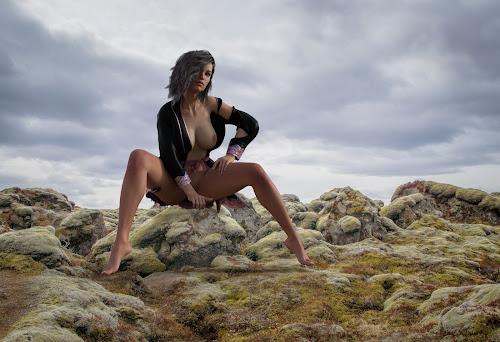 Wide Open by Charlie Alolkoy - Digital Art People ( nude, outdoors, womant, rock, robe )