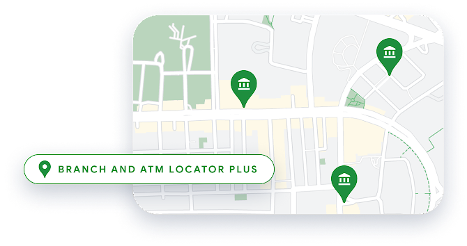 Woman at ATM, with ATM locations shown on a map