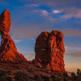 Lollipop Rock by Craig Pifer - Landscapes Caves & Formations ( orange, arches np, desert, lollipop, balanced rock, sandstone, stone, rock, landscape, golden light, red, utah, sunset, southwest, evening, formation )