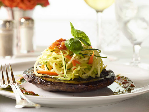 HAL-Main-Dining-Room-Veg-Spaghetti.jpg - A vegetarian spaghetti entrée served in the main dining room of your Holland America ship.