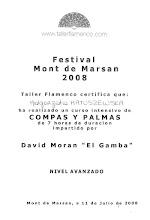 """Photo: 2008r. intensywny kurs rytmu i palmas; poziom zaawansowany (7 godzin); prof. David Moran """"El Gamba"""" XX Festival de Arte Flamenco Mont de Marsan"""