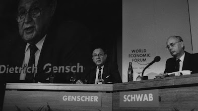 """Photo: DAVOS/SWITZERLAND, JAN 1987 - Hans-Dietrich Genscher, Vice-Chancellor and Foreign Minister of the Federal Republic of Germany, calls on the West to reach out to the Soviet Union to support reforms at the Annual Meeting of the World Economic Forum in Davos in 1987. """"The West has no reason to fear cooperation,"""" Genscher told participants. """"Our motto must be: Let us take Gorbachev seriously. Let us take him at his word!"""" Copyright <a href=""""http://www.weforum.org"""">World Economic Forum</a> (<a href=""""http://www.weforum.org"""">http://www.weforum.org</a>)"""