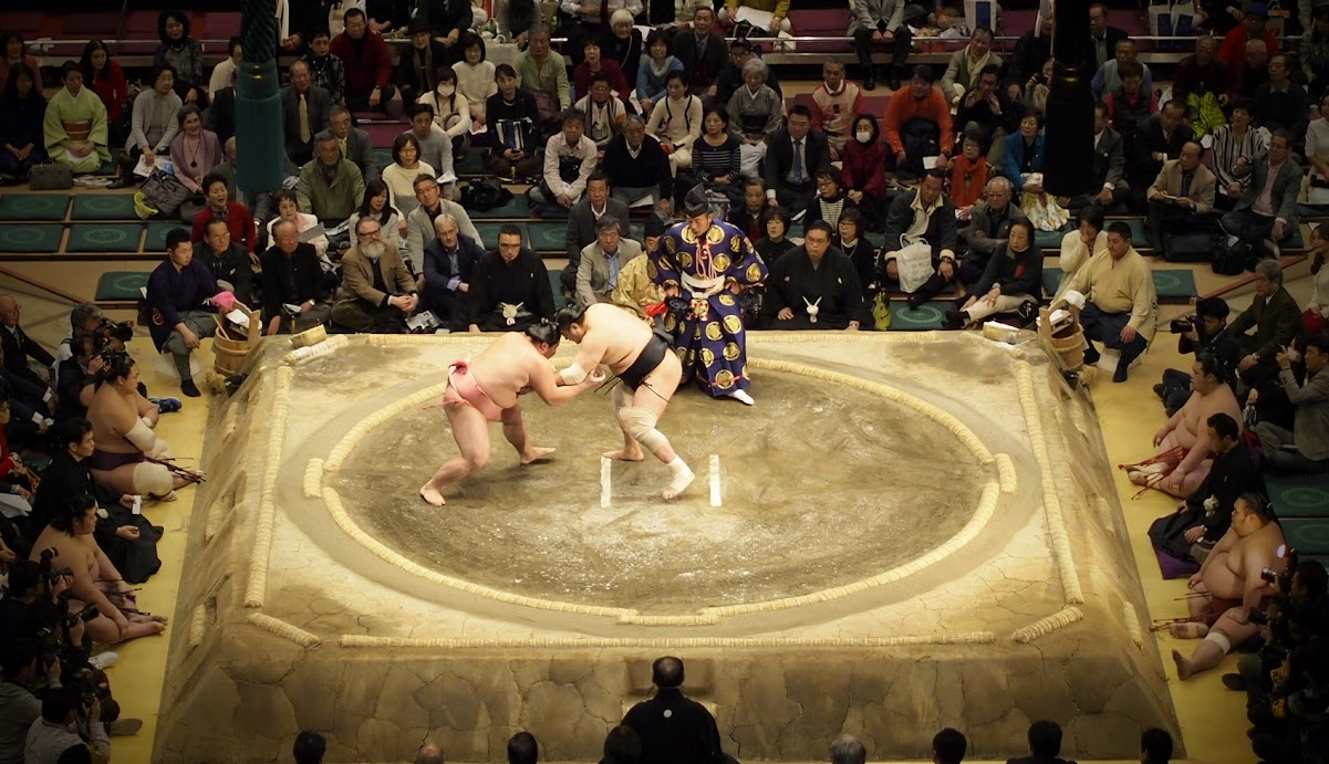 A sumo bout lasts seconds.