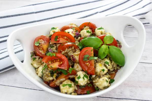 Caprese Salad With Quinoa And Brown Rice In A Serving Bowl.